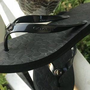 COACH black Abbigail Flip-Flop Sandals